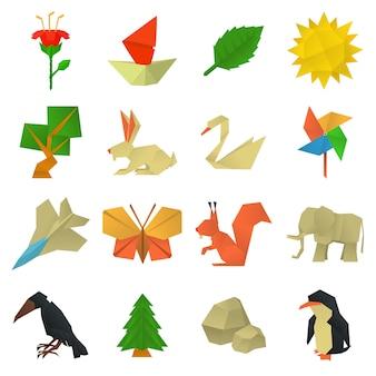 Conjunto de ícones de artesanato de origami