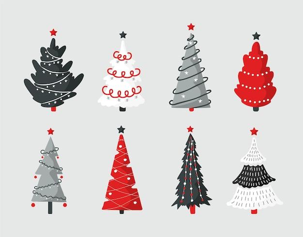 Conjunto de ícones de árvore de natal cinza e vermelho. elemento de design da temporada de natal.