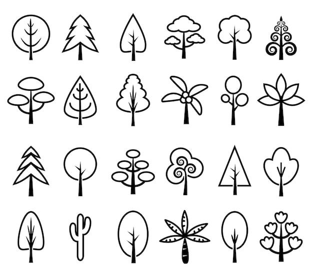 Conjunto de ícones de árvore vector preto e branco