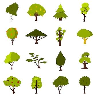 Conjunto de ícones de árvore verde