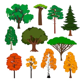 Conjunto de ícones de árvores dos desenhos animados