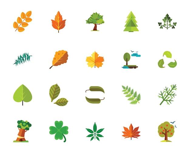 Conjunto de ícones de árvores e folhas
