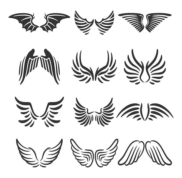 Conjunto de ícones de asas conjunto simples de ícones de vetor de asas