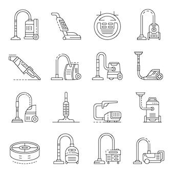 Conjunto de ícones de aspirador. conjunto de contorno de ícones do vetor de aspirador de pó
