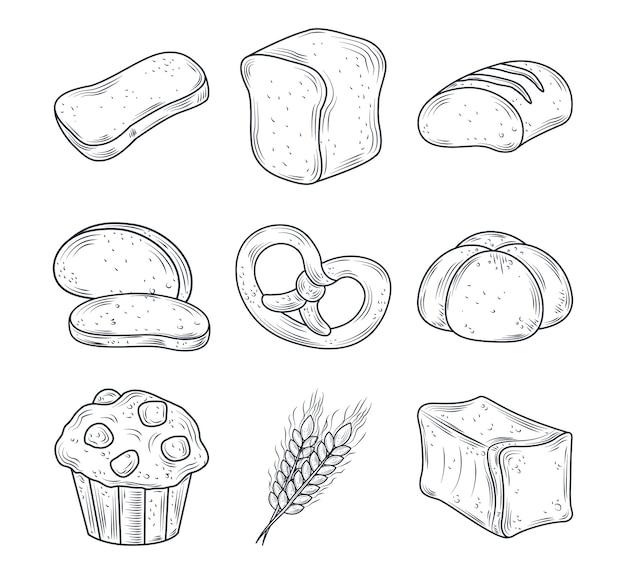 Conjunto de ícones de assados com pão, muffin, pão, inteiros, fatias e trigo isolado na ilustração branca