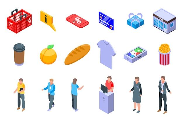 Conjunto de ícones de assistente de loja