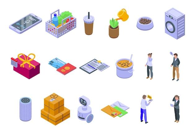 Conjunto de ícones de assistente pessoal. conjunto isométrico de ícones do vetor de assistente pessoal para web design isolado no fundo branco