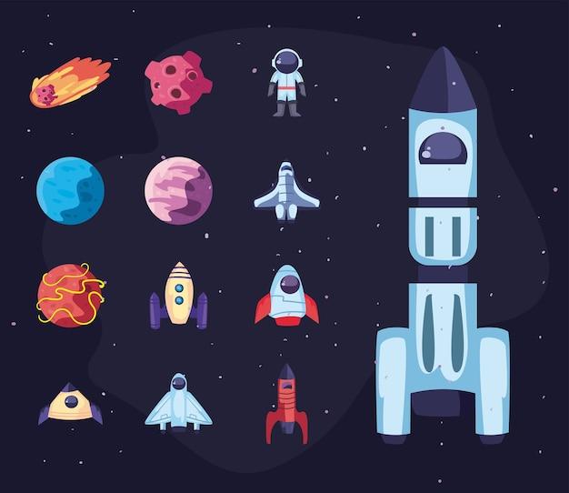 Conjunto de ícones de astronomia e espaço