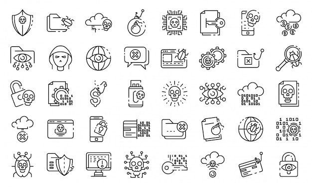 Conjunto de ícones de ataque cibernético, estilo de estrutura de tópicos