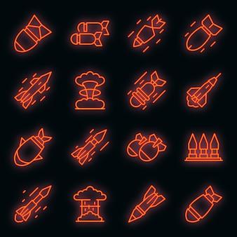 Conjunto de ícones de ataque com mísseis. conjunto de contorno de ícones de vetor de ataque de mísseis cor de néon em preto