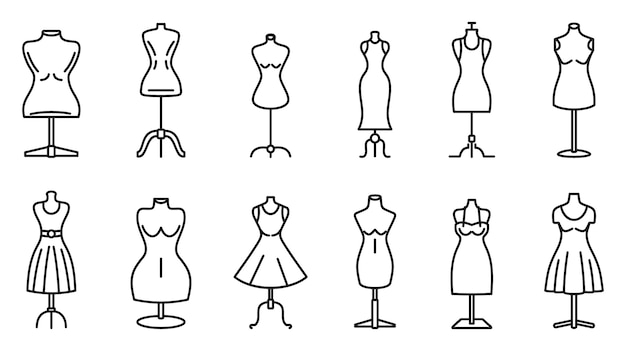 Conjunto de ícones de ateliê manequim, estilo de estrutura de tópicos