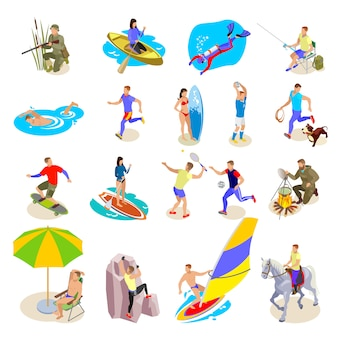 Conjunto de ícones de atividades ao ar livre