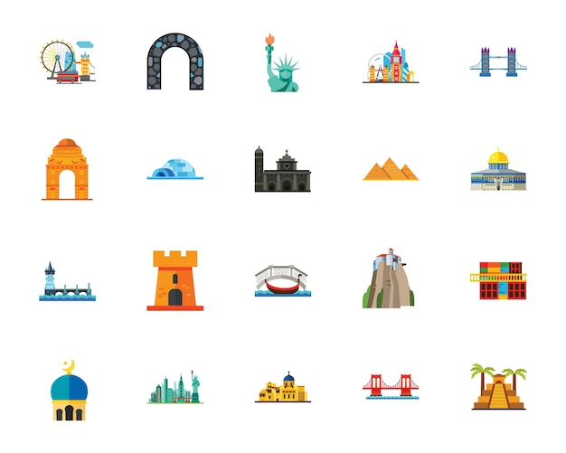 Conjunto de ícones de atrações