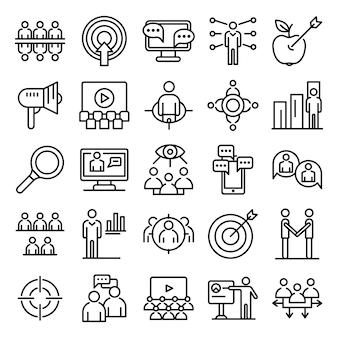 Conjunto de ícones de audiência, estilo de estrutura de tópicos