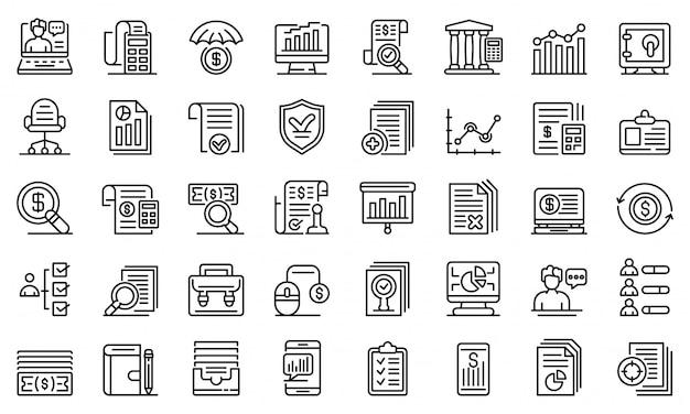 Conjunto de ícones de auditoria, estilo de estrutura de tópicos