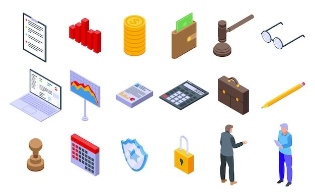 Conjunto de ícones de auditoria, estilo isométrico