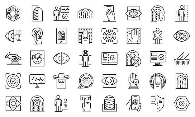 Conjunto de ícones de autenticação biométrica, estilo de estrutura de tópicos