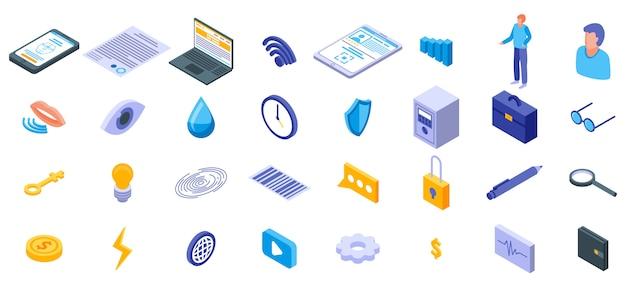 Conjunto de ícones de autenticação biométrica, estilo isométrico