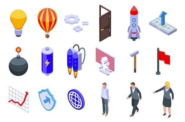 Conjunto de ícones de avanço, estilo isométrico