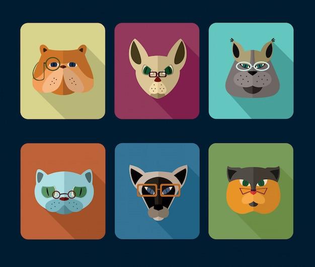 Conjunto de ícones de avatar de gatos