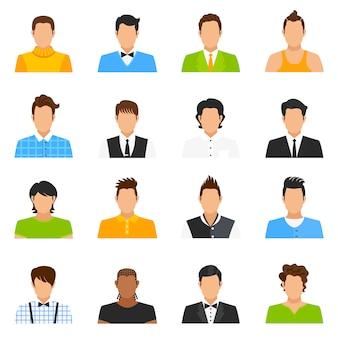 Conjunto de ícones de avatar de homem