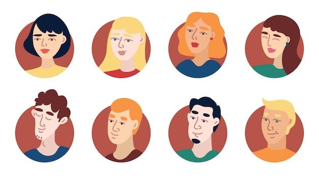 Conjunto de ícones de avatar de jovens de ilustração