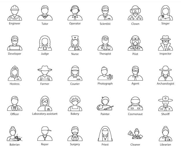 Conjunto de ícones de avatar de profissão