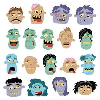 Conjunto de ícones de avatar engraçado zumbi no estilo cartoon