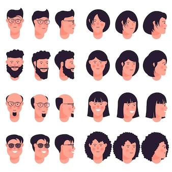 Conjunto de ícones de avatar isolado no fundo branco