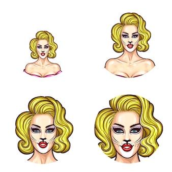 Conjunto de ícones de avatar redondos de pop art para usuários de redes sociais, blogs, ícones de perfil.