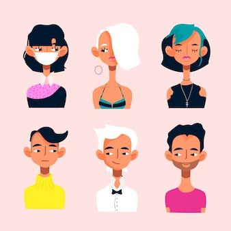 Conjunto de ícones de avatares de inicialização jovem