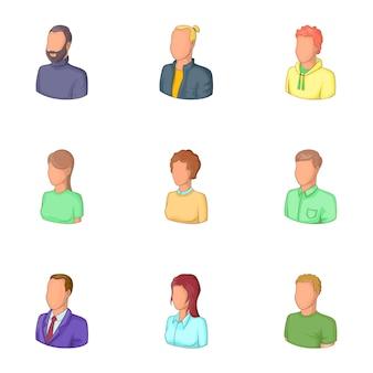 Conjunto de ícones de avatares de trabalhadores de escritório, estilo cartoon