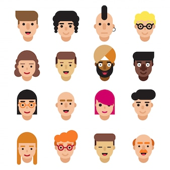 Conjunto de ícones de avatares plana