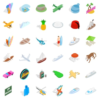 Conjunto de ícones de aventura de verão, estilo isométrico