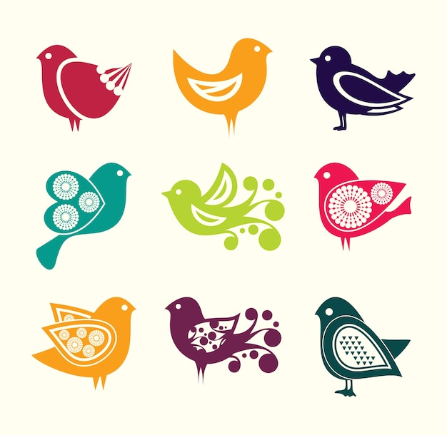 Conjunto de ícones de aves doodle dos desenhos animados