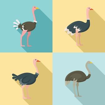 Conjunto de ícones de avestruz, estilo simples