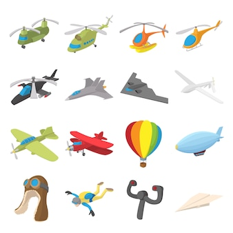 Conjunto de ícones de aviação em vetor isolado de estilo dos desenhos animados