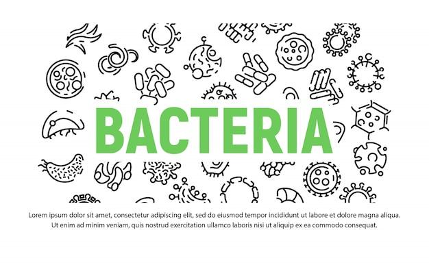 Conjunto de ícones de bactérias no estilo de estrutura de tópicos
