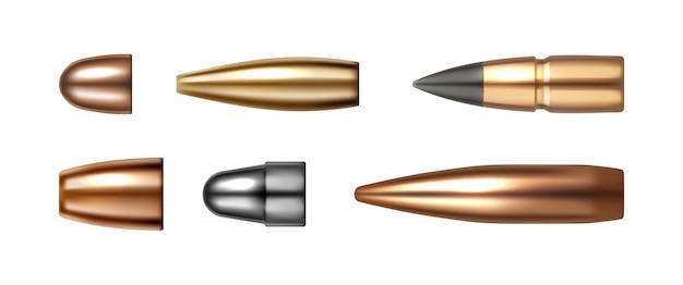 Conjunto de ícones de bala isolados em tipos e tamanhos de munição de arma de cartuchos de vetor branco em realistas