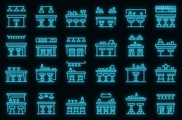 Conjunto de ícones de balcão de barra. conjunto de contorno de ícones de vetor de balcão de bar, cor de néon no preto