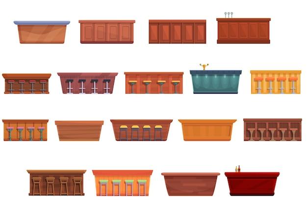 Conjunto de ícones de balcão de barra. conjunto de desenhos animados de ícones de balcão de bar