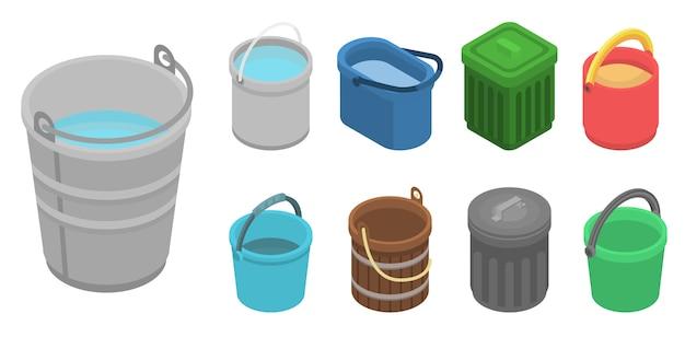 Conjunto de ícones de balde. conjunto isométrico de ícones de vetor de balde para web design isolado no fundo branco