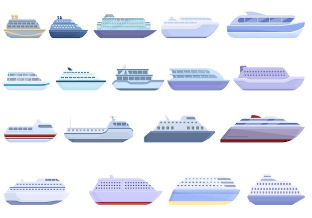 Conjunto de ícones de balsa. conjunto de desenhos animados de ícones de balsa