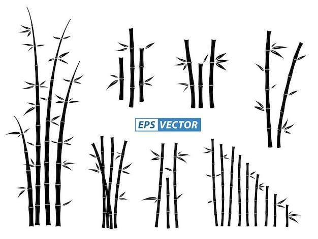Conjunto de ícones de bambu ou silhueta de bambu asiática isolada ou vários talos e hastes de bambu
