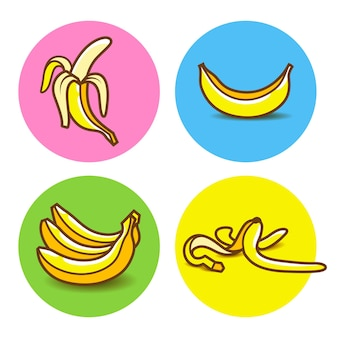 Conjunto de ícones de banana amarela com sombra