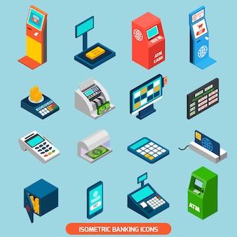 Conjunto de ícones de banca isométrica