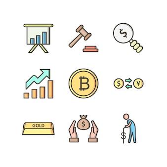 Conjunto de ícones de bancário conjunto