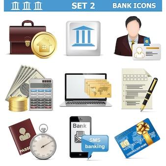 Conjunto de ícones de banco de vetores 2