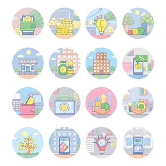 Conjunto de ícones de bancos e finanças