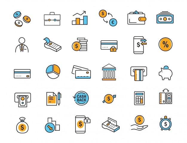 Conjunto de ícones de bancos lineares ícones de finanças